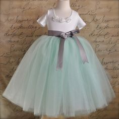 Mint green with silver grey ribbon Flower by TutusChicBoutique, $90.00