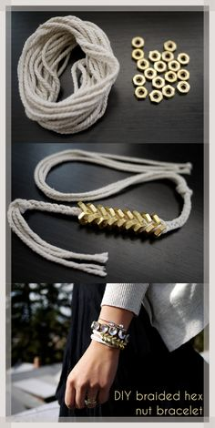 http://honestlywtf.com/diy/diy-braided-hex-nut-bracelet/ for tutorial