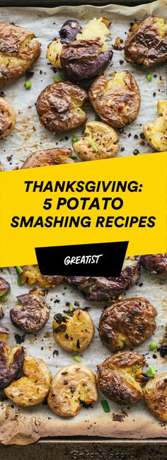 With a crispy-on-the-outside, tender-on-the-inside texture that's perfect for dipping, smashed potatoes are what would happen if french fries and mashed potatoes got married and made a craveable potato baby. Potato Sides, Potato Side Dishes, Potato Vegetable, Vegetable Dishes, Vegetable Recipes, New Recipes, Holiday Recipes, Potato Recipes, Thanksgiving Recipes