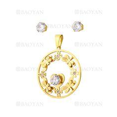 juego colgante y aretes de libelula con cristal en acero dorado inoxidable -SSSTG1074321