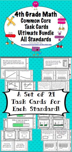 4th Grade Common Core Math Task Cards - Your planning just got easier with these 4th grade math Common Core task cards. This 325+ page resource has a set of 24 task cards for each of the 4th grade Common Core Standards in math. Wow! $