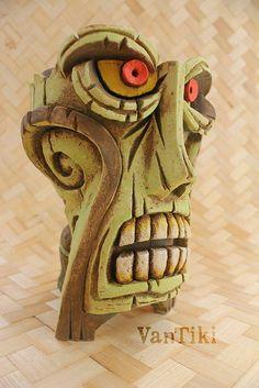 Behold the infamous Ceremonial Zombie Mug of VanTiki Island. Used for centuries by the temple high priest to contain the most potent of cocktails: The Zombie. Tiki Pole, Tiki Tiki, Hawaiian Tattoo, Hawaiian Tribal, Tiki Head, Cardboard Box Crafts, Tiki Decor, Maori Designs, Tiki Lounge