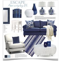 Blue and White Decor, created by jpetersen on Polyvore