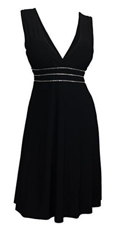 Product review for eVogues Plus Size Sexy Black Rhinestone Low Cut V-Neck Cocktail Dress.  - Add some style to your casual dressy wardrobe with this gorgeous plus size dress. Available in Junior plus sizes 1XL, 2XL, 3XL, 4XL, 5XL. Womens dress features sleeveless design with deep cut v-neck design. Boasts rhinestone lined empire waist. Partial open V-back for that sexy appeal. Skirt...