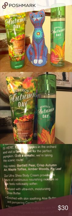 Perfect Autumn Day Set---NOT AVAILABLE IN STORES!! One of Bath and Body Works best gourmand scents that has been discontinued! This smells like caramel and toffee...an unique scent that lasts a long time! Such a yummy scent if you like sweet, delicious scents! The 24 Hour Ultra Shea Lotion has never been used and I used the Fine Fragrance Mist a few times. Nab this one before it's gone!!! Bath and Body Works Makeup