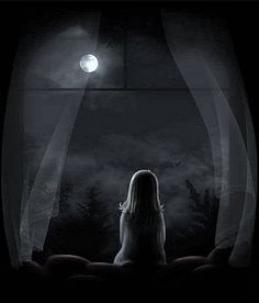 little girl looking out at moon   Cogito Ergo Scribere ^: May 2011