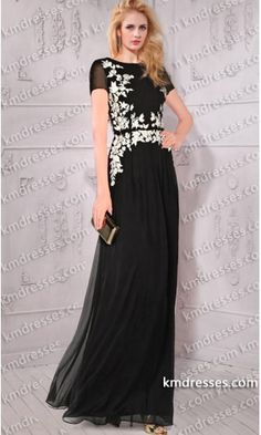 flattering floral appliques short Sleeves semi-sheer floor length silk-chiffon gown .prom dresses,formal dresses,ball gown,homecoming dresses,party dress,evening dresses,sequin dresses,cocktail dresses,graduation dresses,formal gowns,prom gown,evening gown.