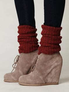 Leg warmers and tights: a cute way to wear wedges this winter love the shoes!