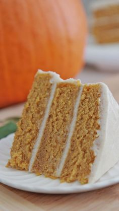 Moist, dense pumpkin cake topped with a delicious creamy frosting. Yummm!
