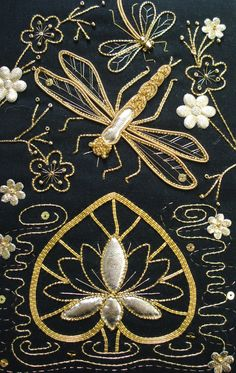 Dragonfly Over Water ~ goldwork embroidery by Kathleen Laurel Sage
