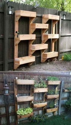 Related posts: 65 Small Backyard Garden Landscaping Ideas 60 Beautiful Backyard Garden Design Ideas And Remodel Easy and Affordable DIY Backyard Ideas and Projects Piccolo-Backyard-Hill-Landscaping-Ideas-to-Get-Cool-Backyard-Landscaping. Vertical Garden Wall, Vertical Gardens, Fence Garden, Vertical Planter, Fence Planters, Planter Garden, Diy Fence, Raised Herb Garden, Tiered Planter