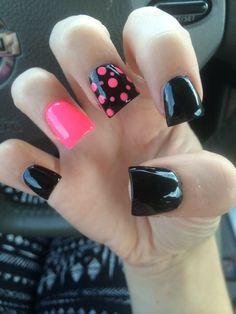 #nails #pink #black