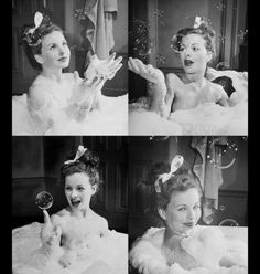 """Jeanne Crain taking bubble bath in the movie """"Margie"""" photographed by Peter Stackpole, 1946 Golden Age Of Hollywood, Classic Hollywood, Old Hollywood, Famous Geminis, Philippe Halsman, Jeanne Crain, Pin Up Photos, Female Stars, Classy And Fabulous"""
