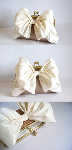 EllenVintage Silk Bow Clutch