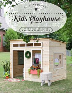 How to build a DIY kids indoor playhouse - free building plans by Jen Woodhouse #easydeckstobuild #deckbuilding #buildplayhouses #kidsplayhouseplans #diyplayhouse #diyindoorplayhouse #playhousediy #kidsindoorplayhouse
