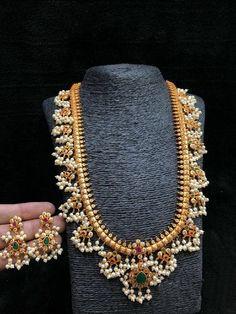 Jewelry Set Indian Guttapusalu Necklace Set W Earrings Haram Gold Bijoux Design, Gold Jewellery Design, Schmuck Design, Gold Jewelry, Handmade Jewellery, Jewellery Shops, Jewelry Necklaces, Diamond Jewelry, Jewellery Supplies