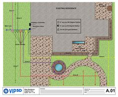 irrigation lines in garden and landscape design software construction plans vip3d