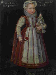 Porträt von Luise Juliane von Oranien-Nassau (1576-1644), Tochter von Wilhelm I. aus 3. Ehe mit Charlotte von Bourbon, im Alter von etwa 6 Jahren circa 1582