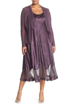 Komarov Embellished Charmeuse & Lace Dress with Jacket (Plus Size) available at #Nordstrom