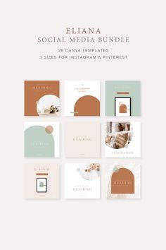 The Eliana Social Media Bundle Canva Templates created for the small business owner to help you customise easily, quickly to save you time & help you create a cohesive brand for your business. Highly customisable and easy to edit in Canva to add your own brand colours, fonts, logo and other brand Instagram Feed Layout, Instagram Square, Instagram Post Template, Story Instagram, Instagram Design, Free Instagram, Instagram Posts, Social Media Branding, Social Media Design