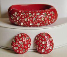Weiss Bakelite Clamper Bracelet/Earring Set-Red Clear Rhinestones Signed