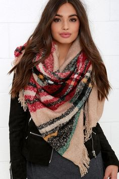 Even if the weather is crisp, set out about town in the Neighborhood News Red and Beige Plaid Scarf