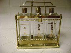 Vintage Liquor Tantalus, Brass Locking Holder, 3 Decanters, Bourbon, Gin, Scotch #ArtDeco