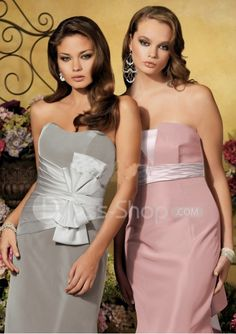 Image detail for -Soft Neckline Grey and Pink Taffeta or Satin Bridesmaid Dress ...