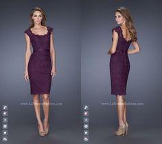 La Femme 20481 | Graceful, Mother of the bride dress~ lace~ scoop neckline~ Cap sleeves~ Evening collection dress~