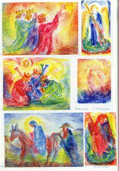 """Tafel 61: Christliche Feste 03 in Bienenwachsfarben: """"Christliche"""" Festzeiten Weihnachten, Pfingsten (1.-7. Schuljahr)  1. drei Könige in Rot, Blau und Grün, schauen in Richtung des weiss-gelblichen Lichtes und stehen im Heiligenschein  2. Engel in Blau mit Engelsstab in Gelb-Rot auf grün-blauem Boden und mit gelben Flügeln steht vor einem blauen Himmel im weissen Heiligenschein  Die drei Könige in Rot, Blau und Grün knien vor dem Engel im weisslichen Gelb und sind im Heiligenschein (...)"""