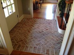 Wright's Ferry tiles, in the Savannah color mix with wood ash - Daniel Slowik - Inglenook tile. Wright's Ferry tiles, in the Savannah color mix with wood ash Inglenook tile. Wright's Ferry tiles, in the Savannah color mix with wood ash - Brick Tile Floor, Entryway Tile, Inglenook, Thin Brick Tile, Flooring, Brick Flooring, Brick Look Tile, Entryway Flooring, Tiled Hallway