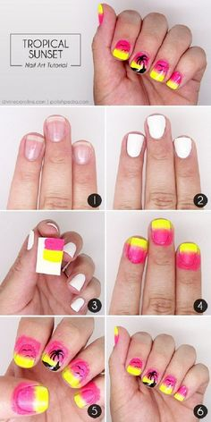 Sunset Palm Tree Nail Design - 15 Color Block Nail Art Tutorials for Summer 2015 | GleamItUp
