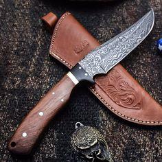 ALONZO KNIVES USA CUSTOM HANDMADE DAMASCUS TACTICAL HUNTING KNIFE ROSE WOOD 108 #AlonzoKnives