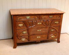 Solid Oak Art Nouveau Marble Top Chest - Antiques Atlas