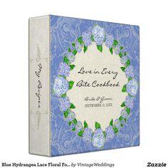 Blue Hydrangea Lace Floral Formal Elegant Weddings Binder