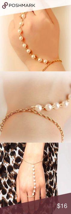 Pearl Chain Linked Ring Bracelet Beautiful Imitation Pearls Chain Linked Finger Loop Bracelet Jewelry