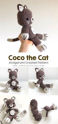 Cute amigurumi crochet kitty cat pattern by Sweet Softies! Less sewing needed, as legs, arms, and tail are all attached to the body using crochet methods.