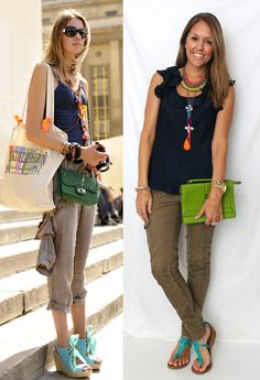 navy top and brown/olive/dark khaki pants w/ turquoise sandals and lime purse