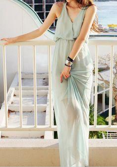 Chiffon Cutout Back Maxi Dress - Light Blue @LookBookStore