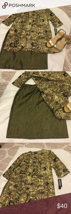 Dana Kay skirt Suit size 16 Brand New with Tags! Dana Kay Skirt Suit size 16. Olive color with beautiful designs. Dana Kay Skirts Skirt Sets