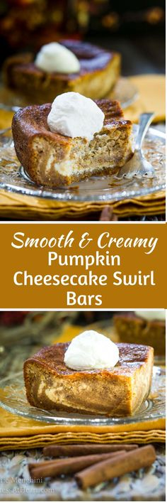 Smooth & Creamy Pumpkin Cheesecake Swirl Bars Homemade Smooth and Creamy Pumpkin Cheesecake bars make a show-stopper dessert. These dessert bars have a marbled filling and there's no crust making them an easier recipe than pie. Fall Dessert Recipes, Köstliche Desserts, Fall Recipes, Plated Desserts, Thanksgiving Recipes, Pumpkin Cheesecake Recipes, Pumpkin Recipes, Pumpkin Dessert, Pumpkin Pumpkin