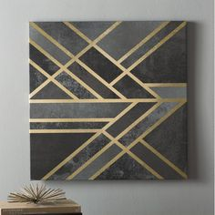 Willa Arlo Interiors 'Art Deco Geometry I' Graphic Art on Wrapped Canvas Painters Tape Art, Masking Tape Art, Tape Painting, Diy Painting, Diy Canvas Art, Diy Wall Art, Canvas Artwork, Art Deco Wall Art, Art Deco Paintings