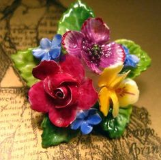 Your place to buy and sell all things handmade Flower Baskets, Ceramic Flowers, Ceramic Jewelry, Vintage Pins, Porcelain Ceramics, Flower Brooch, Bone China, Beautiful Things, Enamel