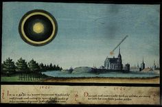 """1520 -- One illustration depicts two events from 1520: - """"In the year 1520, on the fourth of January, this sign was seen in Vienna for three hours until five after midday. It is called """"Halo"""" and is like the moon"""" - """"Afterwards, after midnight, at one o'clock or a little later, this sign was seen"""" -- The Book of Miracles (f°103), ca 1552"""