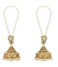 Buy Big jhumka pearl polki flower jhumki traditional style earring jhumka online