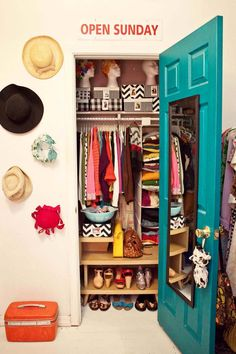 I like the pattern idea with the hats they did next to the closet maybe just use decorative pieces instead