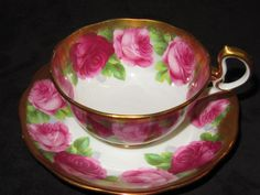 Royal Albert Crown China Old English Rose Gold Trim Doris Shape Teacup Saucer Set Front View
