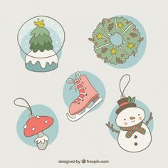 Variety of hand-drawn christmas decoration Free Vector