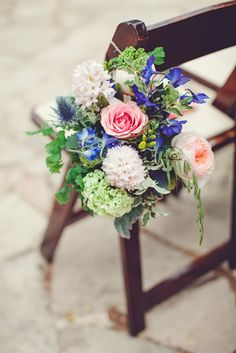 Pink and Blue Aisle Flower Decorations