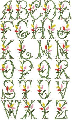 Tulip Kisses Font machine embroidery designs alphabet